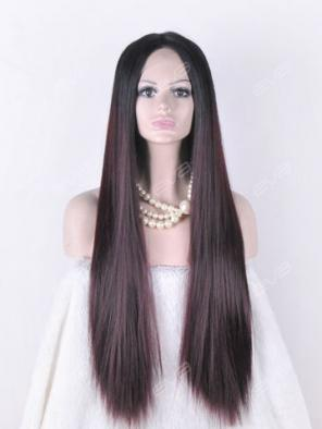 EvaHair Dark Wine Ombre Quite Long Synthetic Lace Front Wig