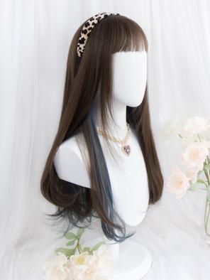 Evahair Brown to Blue Ombre Long Straight Synthetic Wig with Bangs