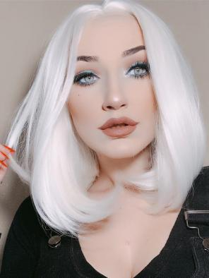 White Straight Bob Synthetic Lace Front Wig