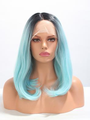 Teal Blue Ombre Short Bob Synthetic Wig