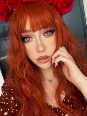 Evahair Orange Long Wavy Synthetic Wig with Bangs