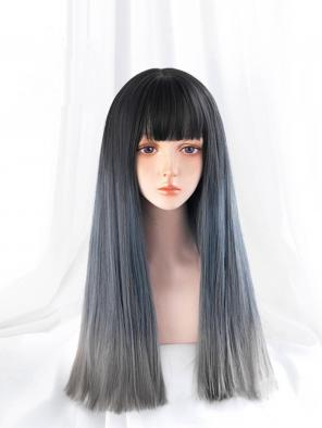 Evahair Blue to Grey Ombre Long Straight Synthetic Wig with Bangs
