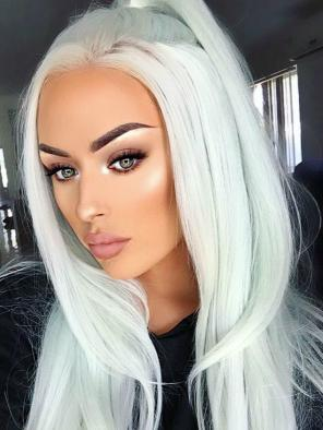 Pastel Mint Long Straight Synthetic Lace Front Wig