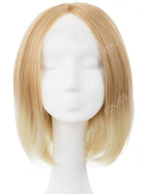 Platinum Blonde Ombre Color Straight Bob Synthetic Lace Front Wig