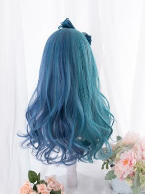 Evahair Half Blue and Half Green Long Wavy Synthetic Wig with Bangs