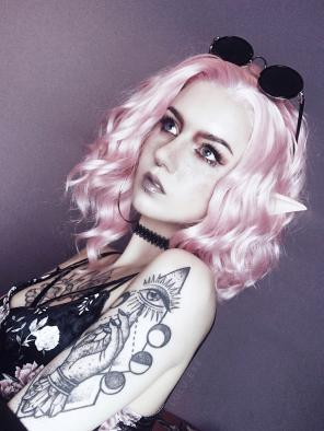 Sweet Pinky Wavy Lob Synthetic Lace Front Wig