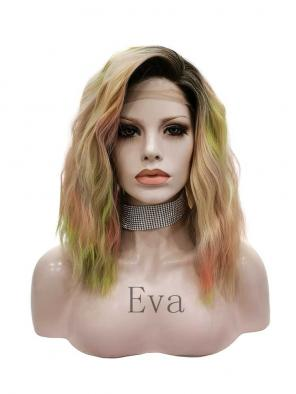 Evahair Colorful Shoulder Length Wavy Synthetic Lace Front Wig