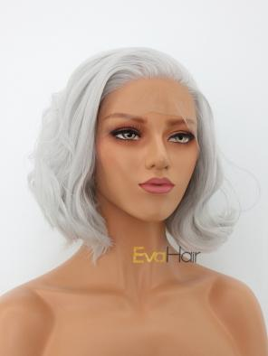 Silver Short Wavy Chin Length Synthetic Lace Front Wig