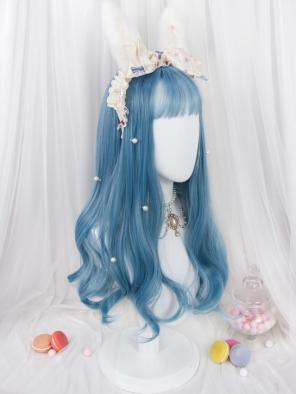 Evahair Haze Blue Long Wavy Synthetic Wig with Bangs