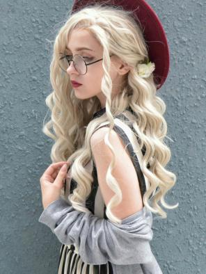 Long Blonde Wavy Synthetic Lace Front Wig