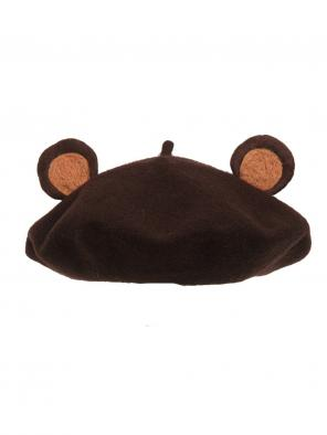 Cute Little Brown-Bear-Ears Woollen Beret Hat