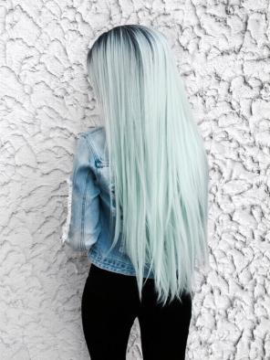 Stock EvaHair Special Offer Kylie Jenner Inspired Pastel Blue Ombre Long Straight Synthetic Lace Front Wig