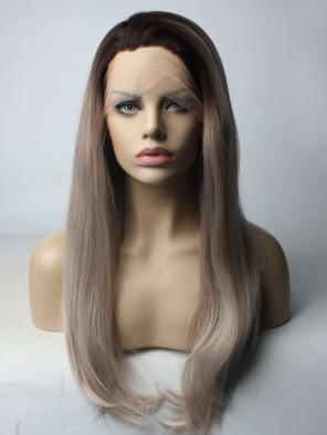 Chocolate Mix Grey Color Long Straight Synthetic Lace Front Wig