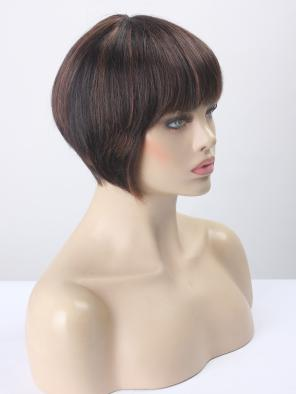 Human Hair Cool Bob with Bangs Wefted Wig