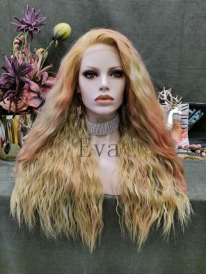 Evahair Multicolored Dark Orange Long Wavy Synthetic Lace Front Wig