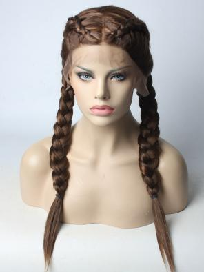 Braided Brown Synthetic Lace Front Wig
