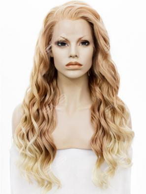 Dark Blonde Long Wavy Lob Synthetic Lace Front Wig