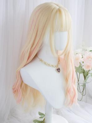 Evahair Blonde and Pink Mixed Color Long Wavy Synthetic Wig with Bangs