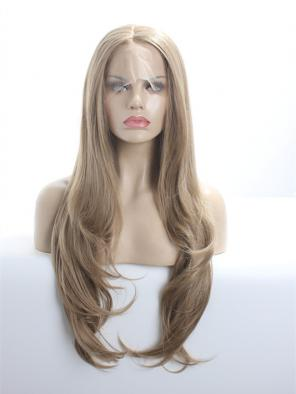 Ash Brown Layered Cut Waist Length Synthetic Lace Front Wig