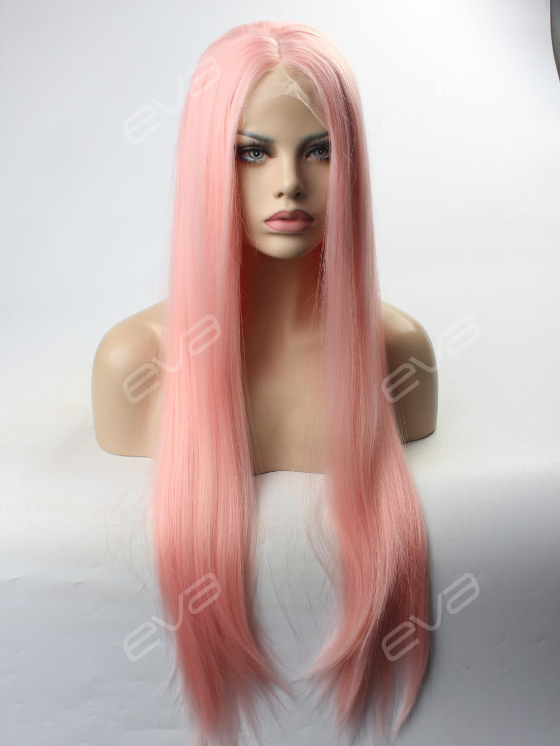 Peach Pink Long Straight Synthetic Lace Front Wig All