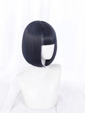 Evahair Dark Blue Bob Short Synthetic Wig with Bangs