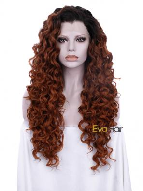 Sexy Curly Brown Heat Friendly Synthetic Hair Wig with Glueless Lace Front Cap