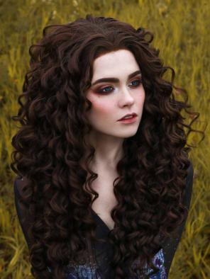 Dark Brown Long Curly Synthetic Lace Front Wig