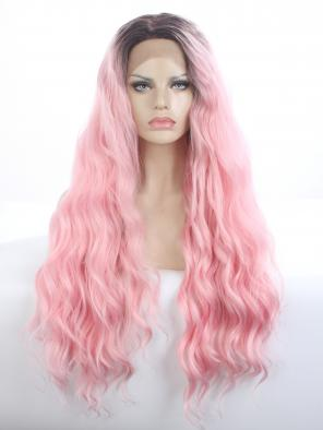 HOT INSTAGRAM CHIC PASTEL PINK WATER WAVY SYNTHETIC LACE FRONT WIG