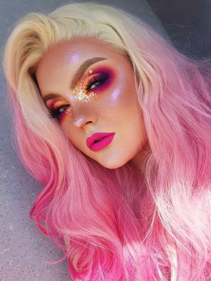 Flamingo Pink Synthetic Lace Front Wig with Blonde Hair Root