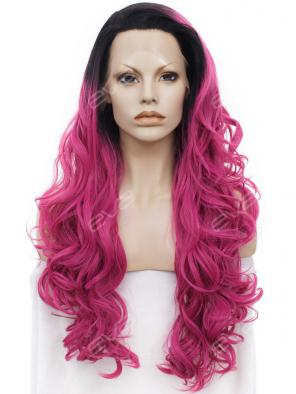 Pink Ombre Long with Lovely Weave Synthetic Lace Front Wig