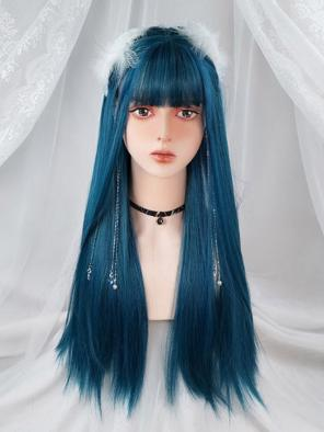 Evahair Bluish Green Long Straight Synthetic Wig with Bangs