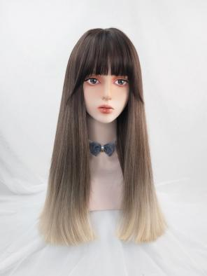 Evahair Brown to Blonde Ombre Color Long Straight Synthetic Wig with Bangs