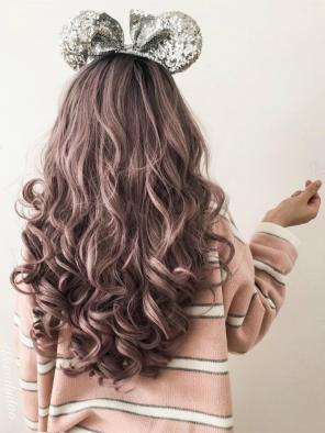 Grayish Dusty Pink Long Wavy Synthetic Lace Front Wig