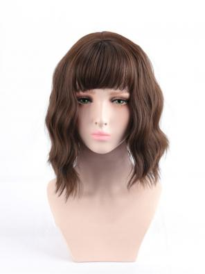 Evahair Brown Short Wavy Synthetic Wig with Bangs