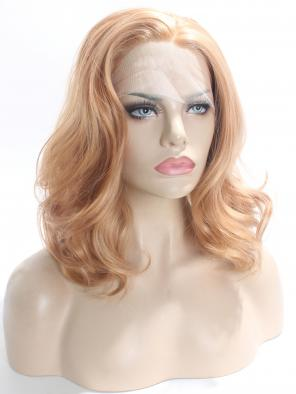 Ombre Sunset Medium Length Wavy Synthetic Lace Front Wig