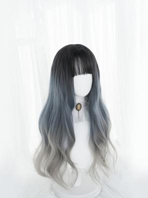 Evahair Blue to Grey Ombre Long Wavy Straight Synthetic Wig with Bangs