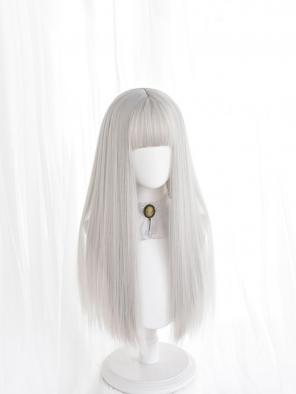 Evahair Long Silver Straight Synthetic Wig with Bangs