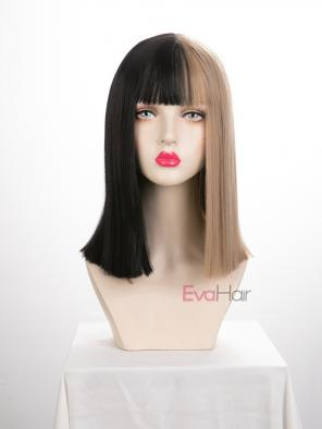 Evahair Half Black and Half Blonde Wefted Cap Straight Synthetic Wig with Bangs