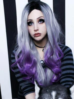 Twilight Purple Wavy Hair with Layer Synthetic Lace Front Wig