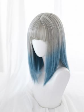 Evahair Grey to Blue Ombre Medium Length Straight Synthetic Wig with Bangs