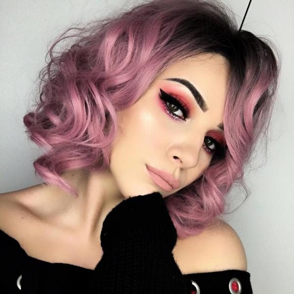 Pink Wavy Lob Synthetic Lace Front Wig - All Synthetic Wigs - EvaHair