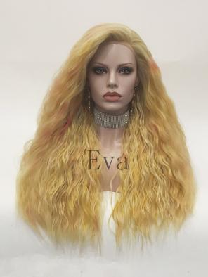 Evahair Yellowish Orange Long Wavy Synthetic Lace Front Wig