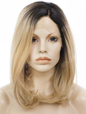 Black to Dark Blonde Medium Length Lace Front Synthetic Wig