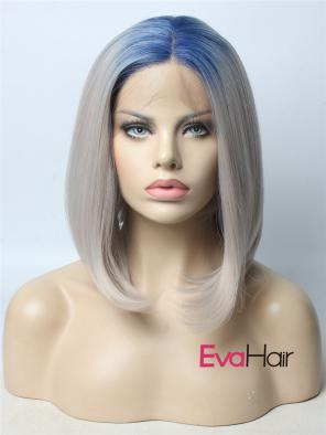 Blue T Grey 2018 New Color Synthetic Lace Front Wig