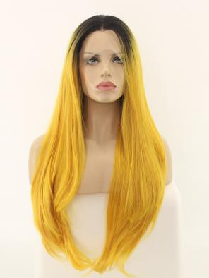 Yellow Ombre Synthetic Lace Front Wig