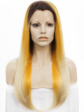 Black to Yellow and Blonde Color Synthetic Lace Front Wig