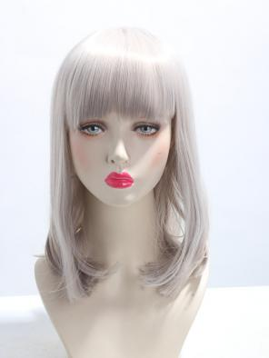 EvaHair Grey Shoulder Length Blunt Hair Ends Straight Synthetic Wig with Full Bangs