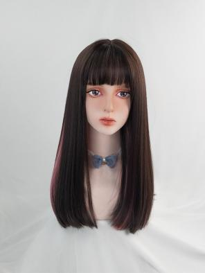 Evahair Brown and Pink Mixed Color Long Straight Synthetic Wig with Bangs