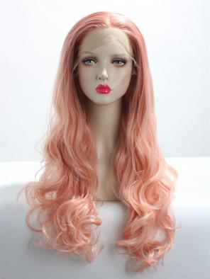 PEACH GOLDEN LONG WAVY SYNTHETIC LACE FRONT WIG
