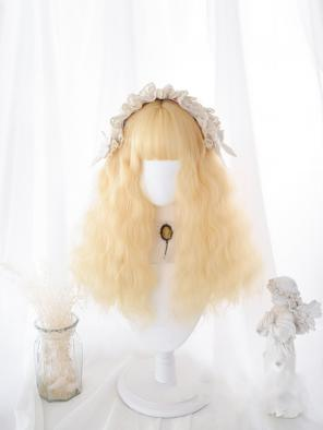 Evahair Golden Wheat Color Long Wavy Synthetic Wig with Bangs